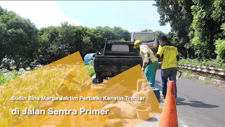 Sudin Bina Marga Jaktim Perbaiki Kanstin Trotoar di Jalan Sentra Primer