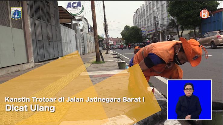 Kanstin Trotoar di Jalan Jatinegara Barat I Dicat Ulang